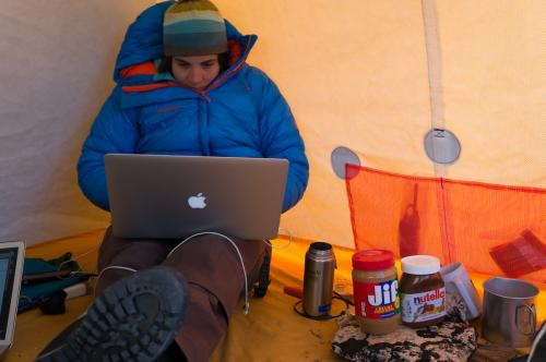 Leigh analyzing data in West Greenland.